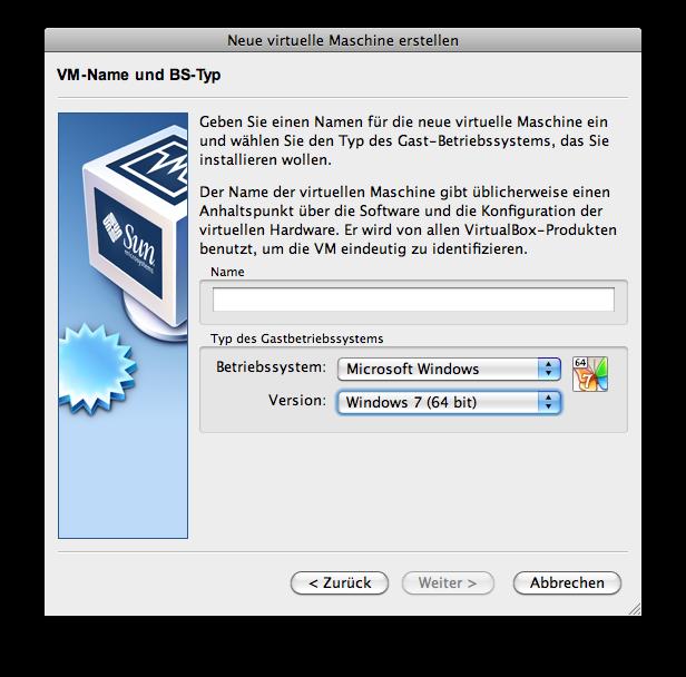 VirtualBox: Neue Maschine anlegen