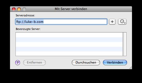 Gehe zu -> Mit Server verbinden