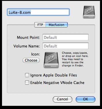 MacFusion - Laufwerkeigenschaften