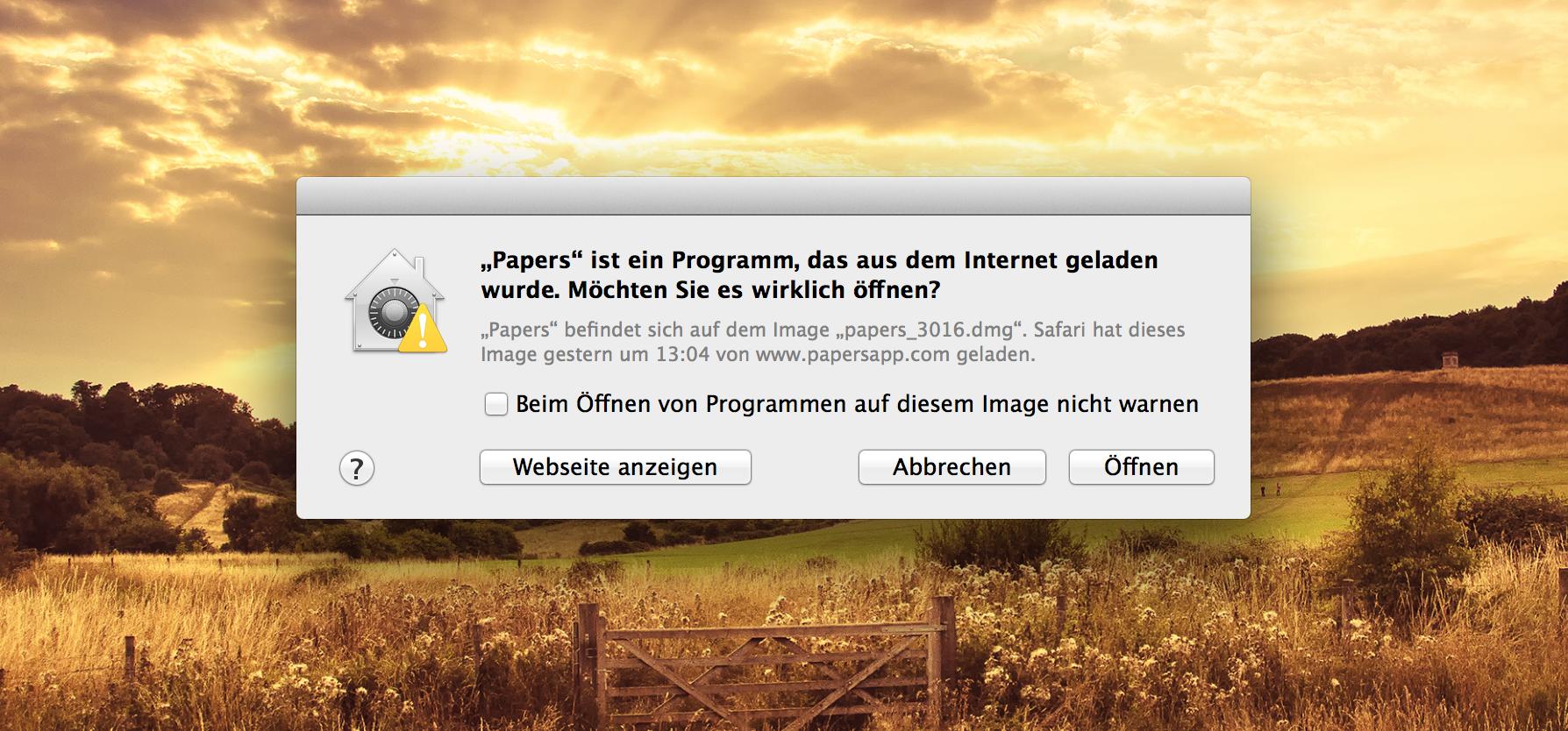 [mac] Wiederholtes Bestätigen beim Öffnen von gedownloadeten Programmen