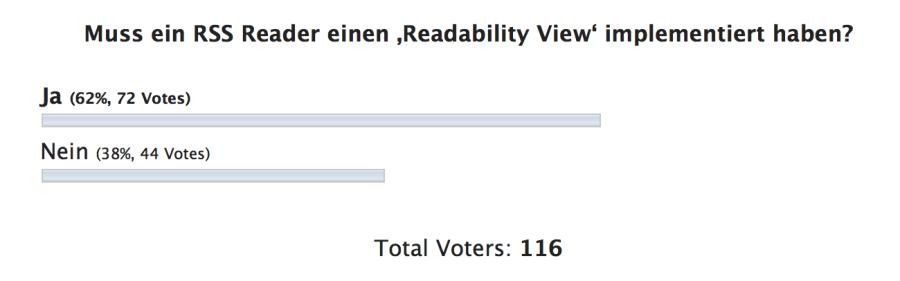 Hier nachzulesen: http://www.aptgetupdate.de/2014/04/15/umfrage-rss-lesegewohnheiten-der-readability-view/