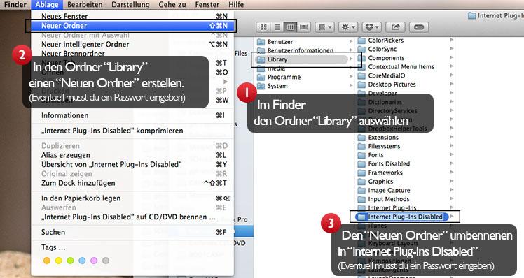"""Den Ordner """"Internet Plugins Disabled"""" erstellen"""