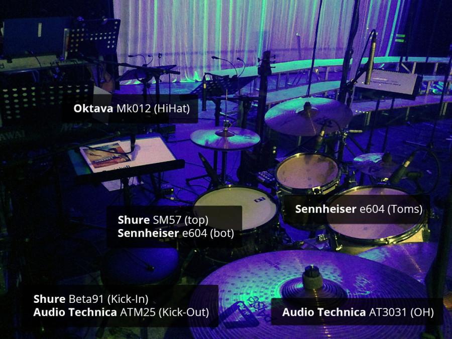 Schlagzeug-Mikrofonierung: Beta91+ATM25; SM57+e604; e604; AT3031; Oktavs Mk012