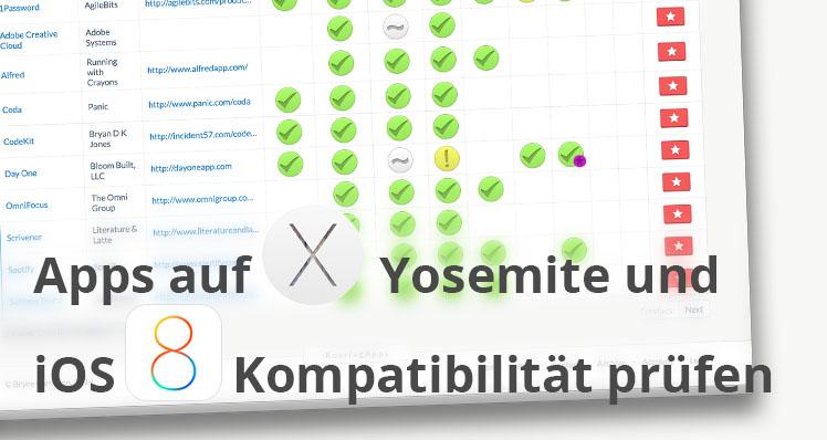 Apps auf Yosemite- und iOS8-Kompatibilität prüfen