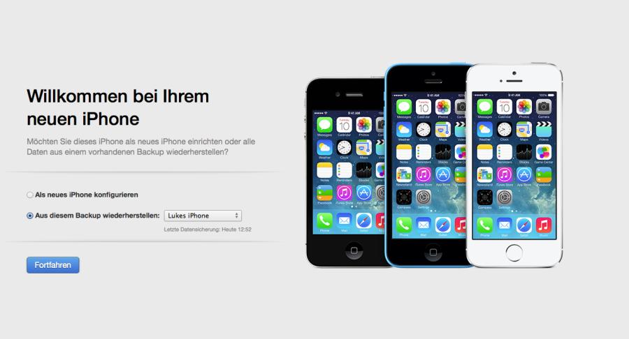 iTunes Wiederherstellung Welcomescreen