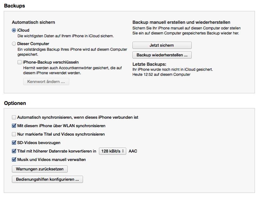 iTunes Optionen für das iPhone