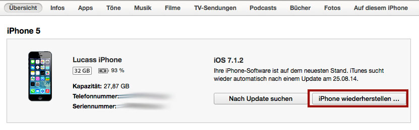 iPhone Wiederherstellen in iTunes